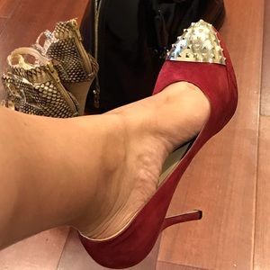 Valentino Suede Pumps with Gold Studs